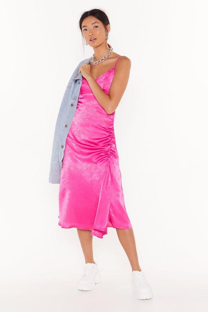 City Slicker Satin Midi Dress