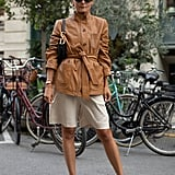 Luxe leather is just the thing to turn those white Summer shorts into an Autumn uniform.