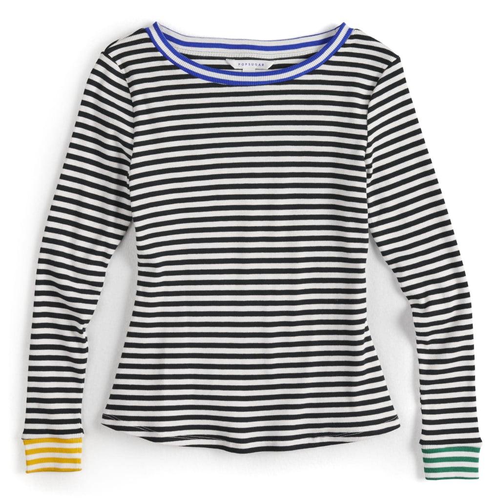 Contrast-Stripe Crewneck Sweater in Black