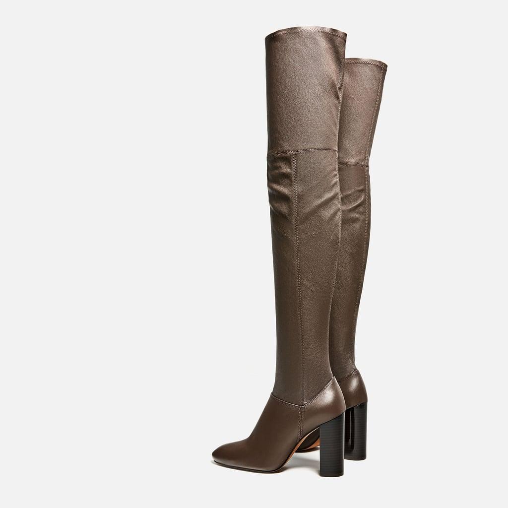 5006dfa27b9 Zara Over-the-Knee High-Heel Leather Boots ( 279)