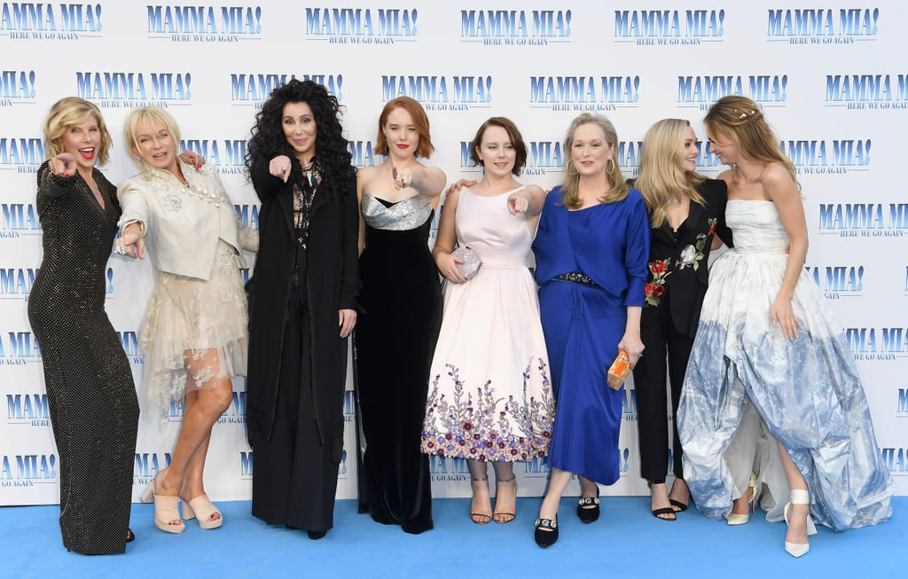 The stars attended the Mamma Mia! Here We Go Again premiere in London on Monday, and it looked like a huge party. Aside from transforming the red carpet into Kalokairi, the cast looked like one big, happy family as they posed for the cameras. While Amanda Seyfried and Lily James (who plays younger Donna) laughed in front of the huge Mamma Mia sign, Meryl Streep and her onscreen mom Cher gave each other a kiss as they hugged it out. There were also a few celebrity families on-hand for the event as Thandie Newton attended with her look-alike daughters, and Tom Hanks and Rita Wilson showed off their three-decades-long romance. See all the best moments from the premiere ahead.       Related:                                                                                                           The Mamma Mia! Here We Go Again Soundtrack Is Here, So Pull Out Your Go-Go Boots