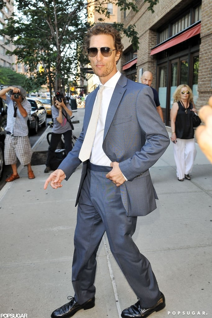 Matthew McConaughey walked out of his hotel in NYC wearing a suit.