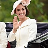 Kate Middleton Looked Lovely as Usual in a White Coat Dress and Pearl Earrings