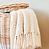Cableknit Blanket With Fringe