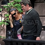 Matthew Broderick left their NYC home alongside SJP and Tabitha.
