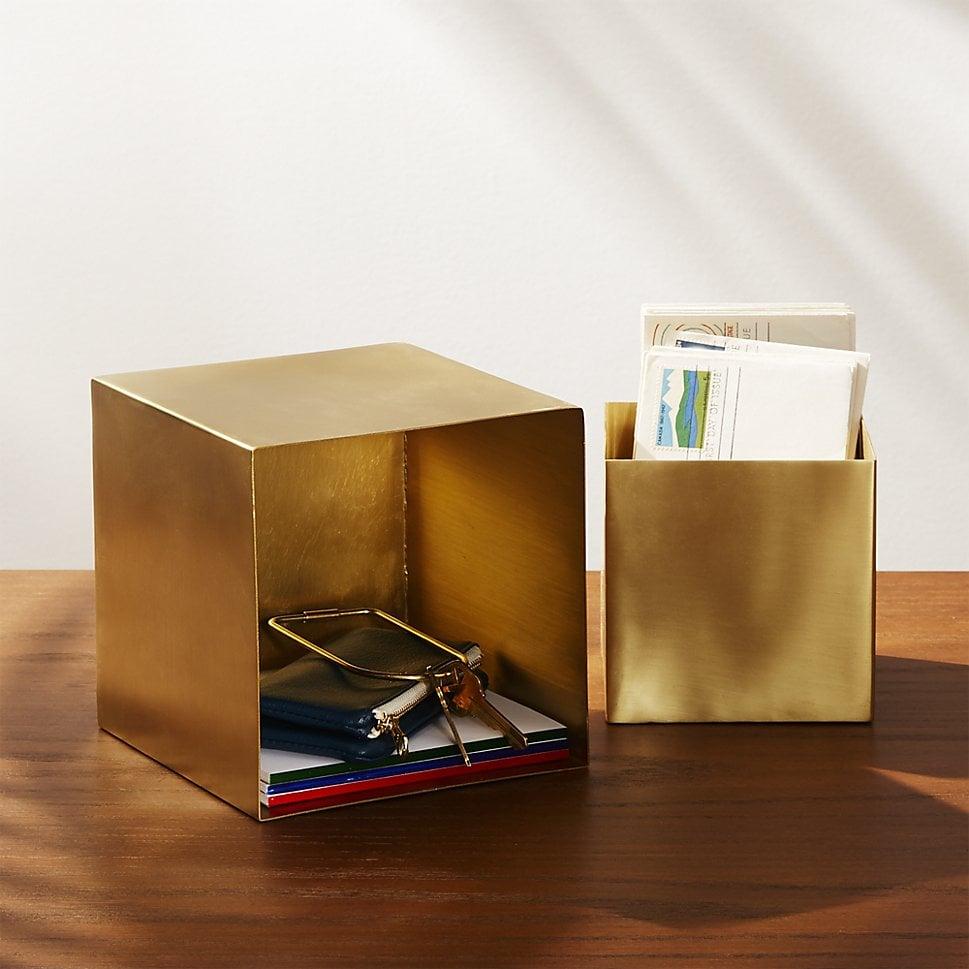 2 piece brass storage box set 70 cb2 fall 2017 decor popsugar home photo 26. Black Bedroom Furniture Sets. Home Design Ideas