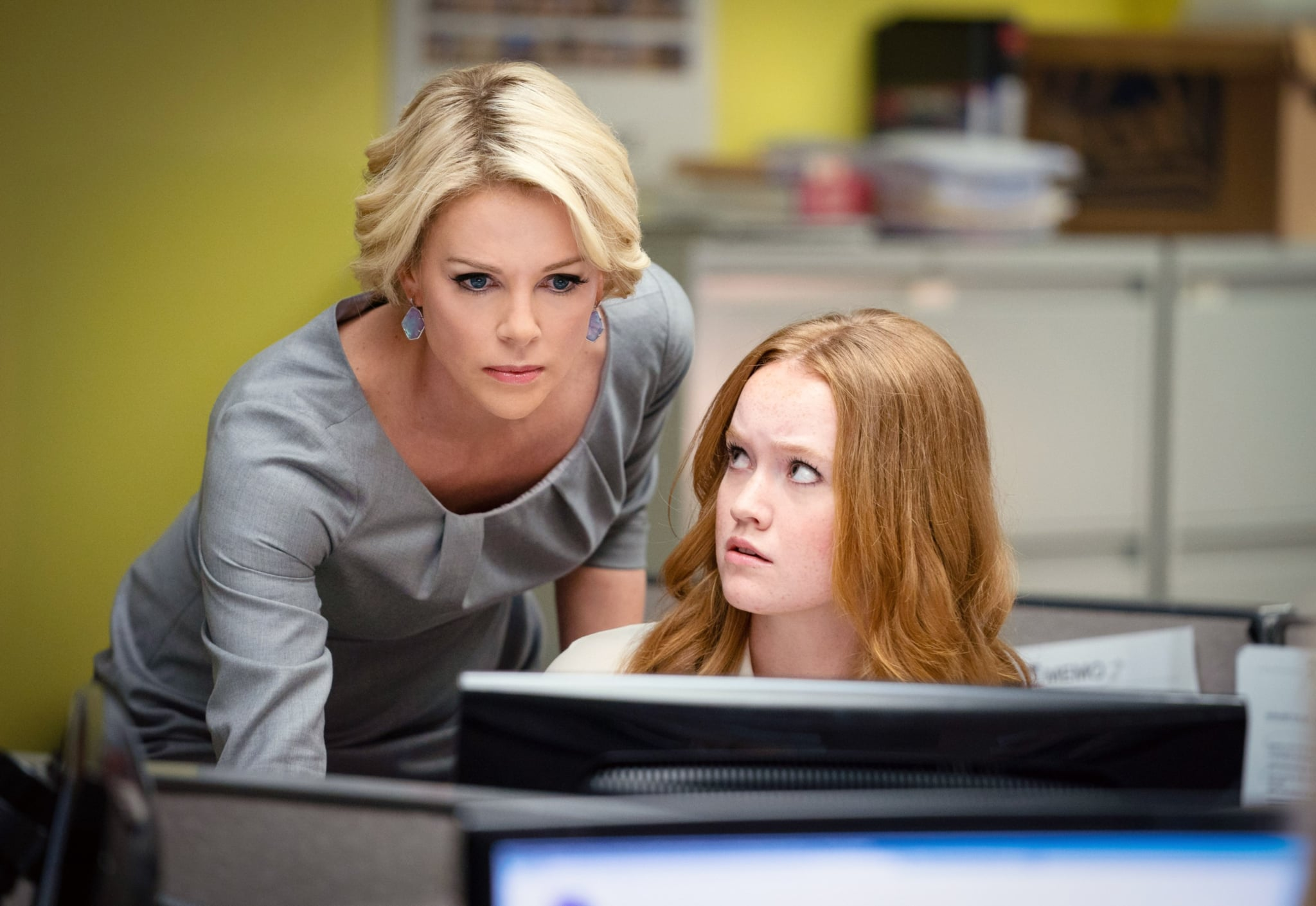 BOMBSHELL, from left: Charlize Theron as Megyn Kelly, Liv Hewson as Lily Balin, 2019. ph: Hilary Bronwyn Gayle /  Lionsgate / courtesy Everett Collection