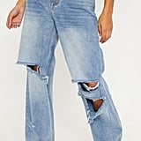 PrettyLittleThing Mid Wash Baggy Low Rise Distressed Boyfriend Jeans