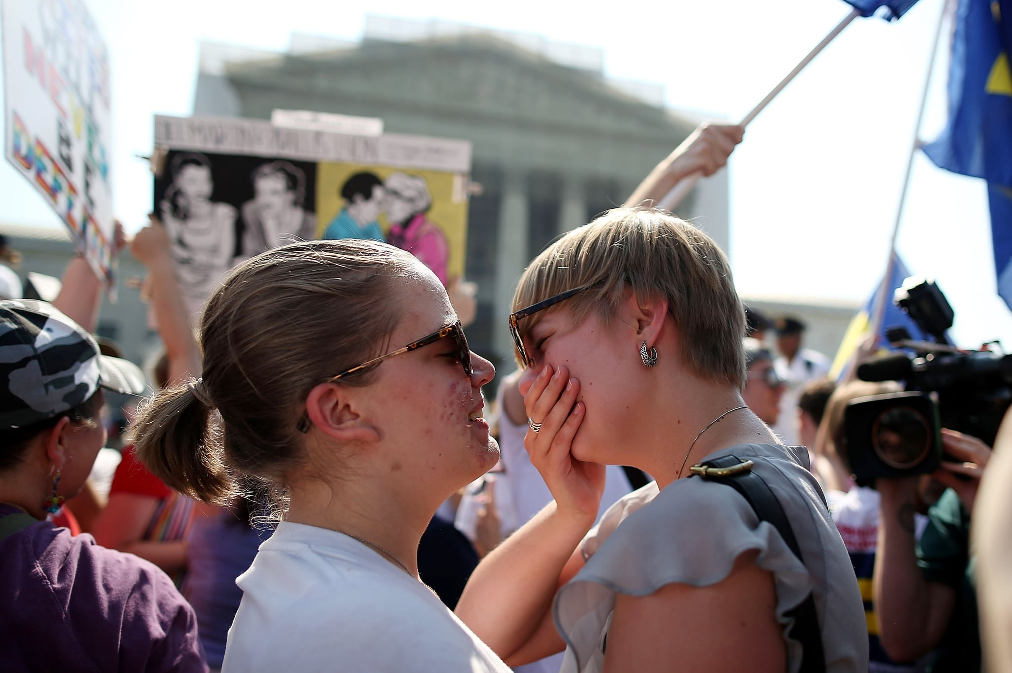 Supporters of gay rights could not contain their happiness outside the US Supreme Court in Washington DC.