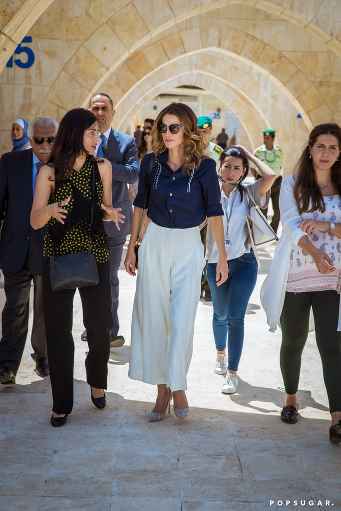 Queen Rania's Button-Down and Culottes August 2016