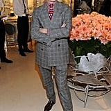 Vogue editor Hamish Bowles looked very dapper in a checked suit.