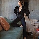Danielle Bernstein Puff Sleeve Bodysuit and Paperbag Waist Pants