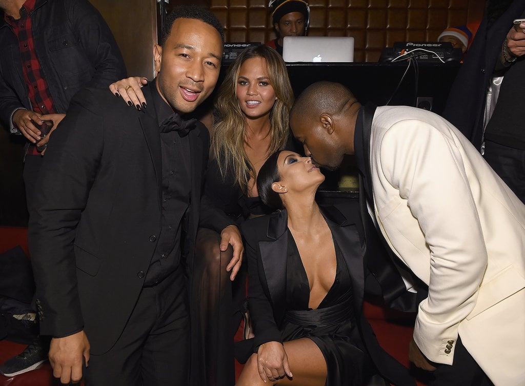 Kim Kardashian and Kanye West at John Legend Birthday Party