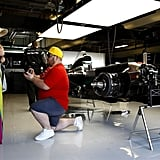 This guy got down on one knee at the pit lane garages