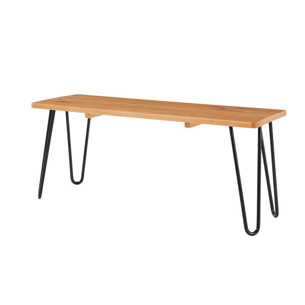 StyleWell Banyan Honey Brown Metal Backless Dining Bench with Metal Hairpin Legs