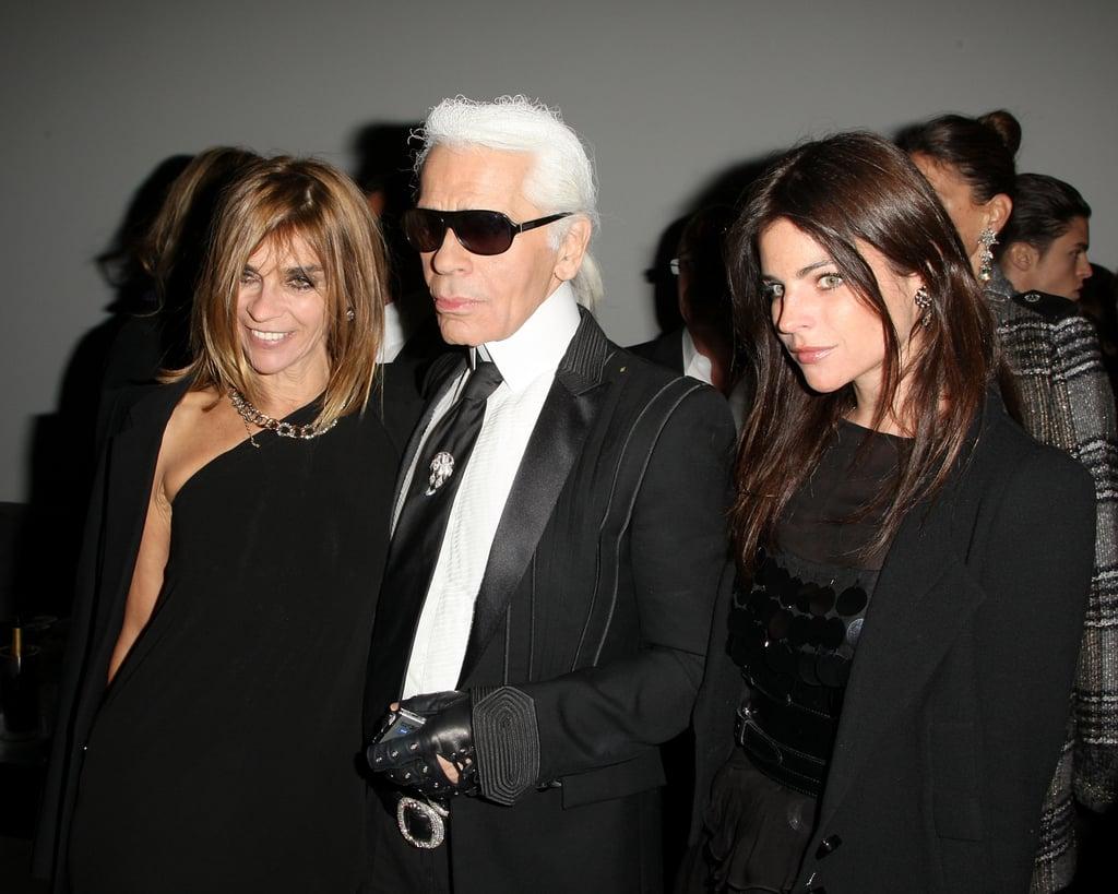 Carine Roitfeld, Karl Lagerfeld, Julia Restoin-Roitfeld.
