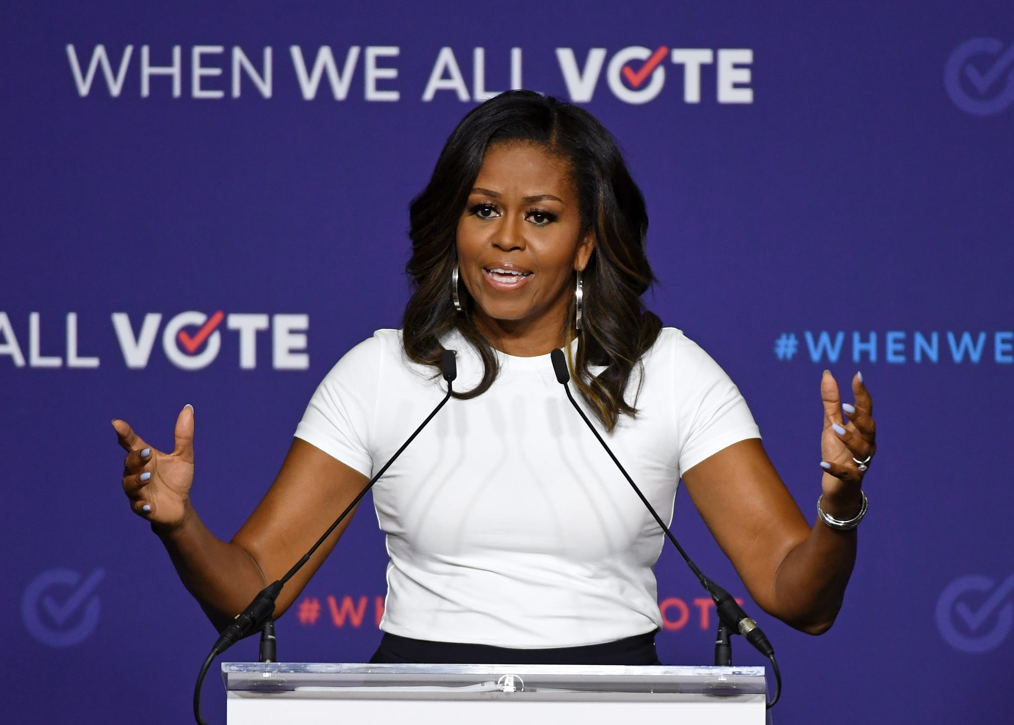 LAS VEGAS, NV - SEPTEMBER 23:  Former first lady Michelle Obama speaks during a rally for When We All Vote's National Week of Action at Chaparral High School on September 23, 2018 in Las Vegas, Nevada. Obama is the founder and a co-chairwoman of the organisation that aims to help people register and to vote. Early voting for the 2018 midterm elections in Nevada begins on October 20.  (Photo by Ethan Miller/Getty Images)