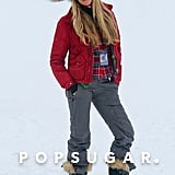 Elle Macpherson struck a pose on the slopes in Aspen on Monday.