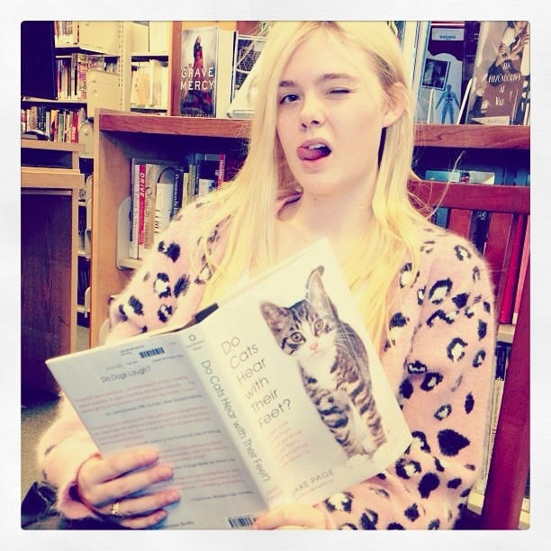 Elle Fanning hit the library. Source: Instagram user ellefanning