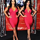 Uncanny! Kim Kardashian posed next to her wax figure at Madame Tussauds New York in July 2010.