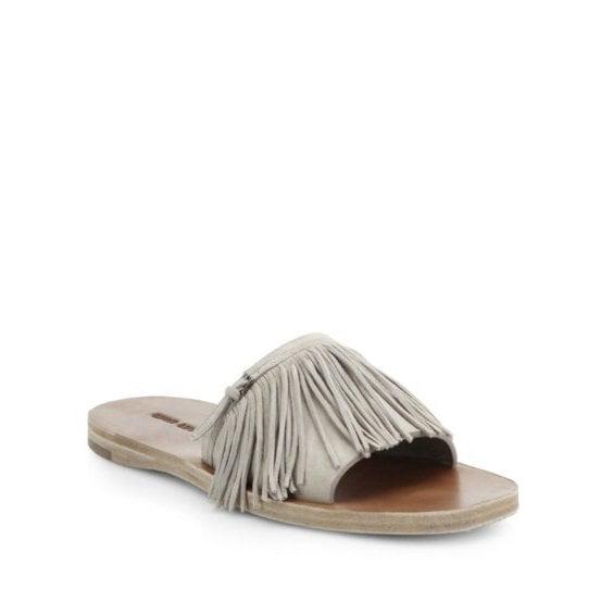 Miu Miu Suede Fringed Slide Sandals ($490)