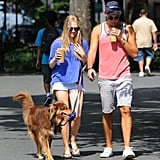 Amanda Seyfried and a friend sipped on some drinks while walking the dog.