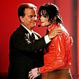 Michael Jackson shared the stage with Dick Clark in April 2002.