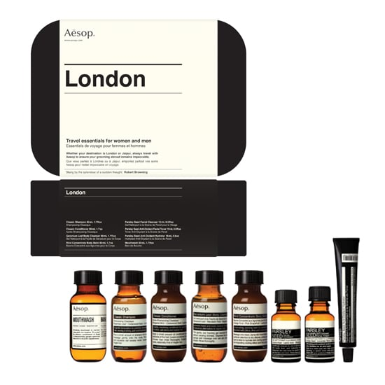After the birth of the royal baby, who doesn't have England on the brain?I'm ready to jet off to London in a snap thanks to this handy travel kit from Aesop ($75). Taking the actual weather and air conditions of London into consideration, the kit has travel-sized versions of the brand's classics along with its new mouthwash. And the sleek case isreusablefor full-size Aesop products once the vacation is over. Now, when doIget my invite to meet Prince George? — Melissa Liebling-Goldberg, Fashion and Beauty Director