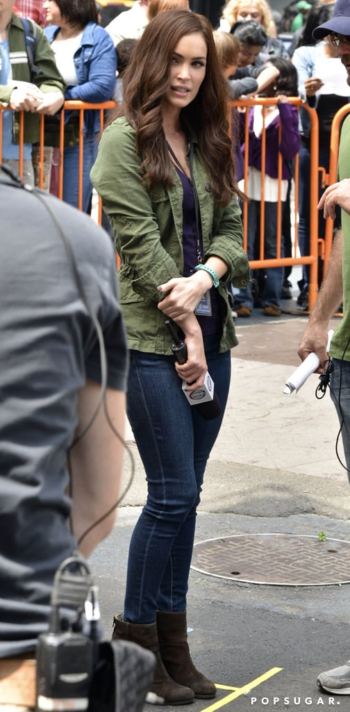 Megan Fox continued work on Teenage Mutant Mutant Ninja Turtles, in which she's playing April, on Monday in NYC.