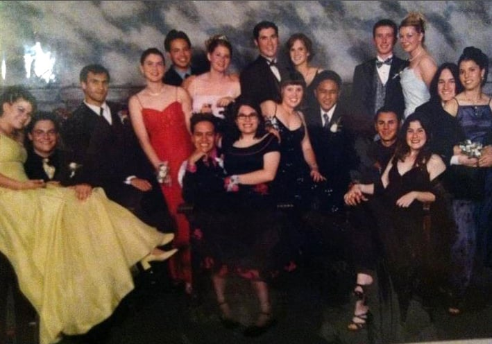 """I'm the one in the back row wearing a navy dress. I kept it pretty neutral."" — Kelly Schwarze"