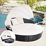 Tangkula Backyard Poolside Garden Round With Retractable Canopy Wicker Rattan