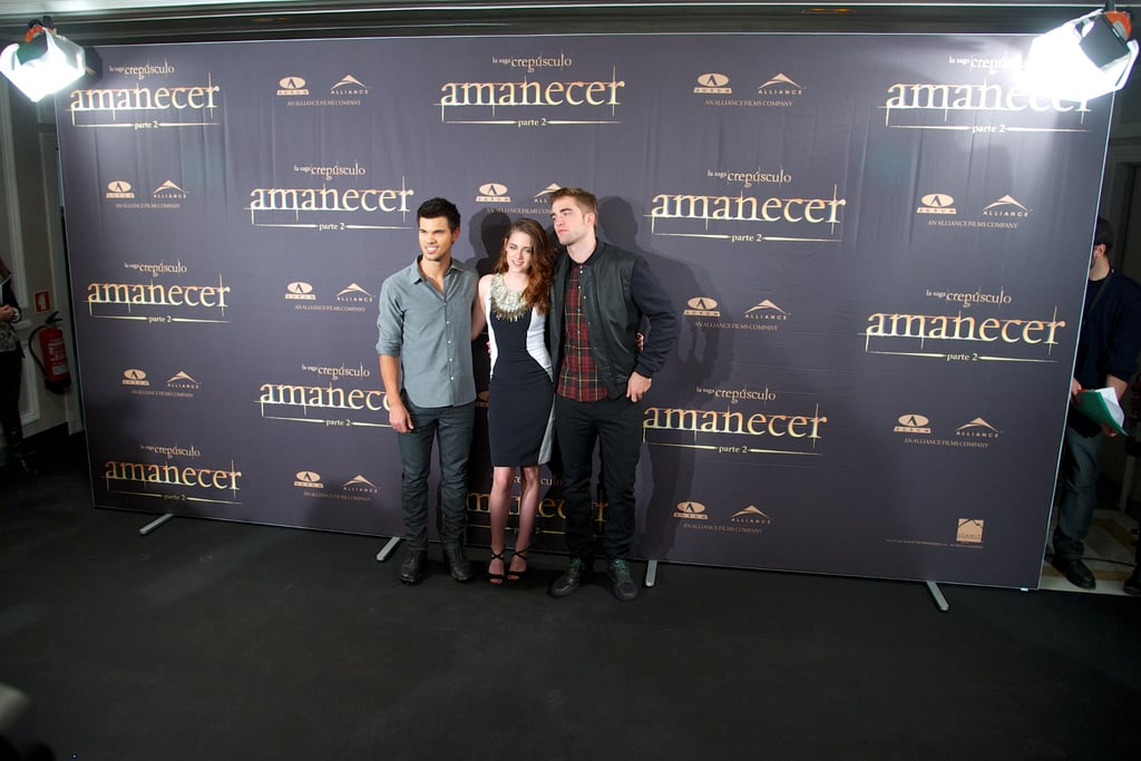 Taylor Lautner, Kristen Stewart and Robert Pattinson attended the Breaking Dawn —Part 2 photo call in Madrid.
