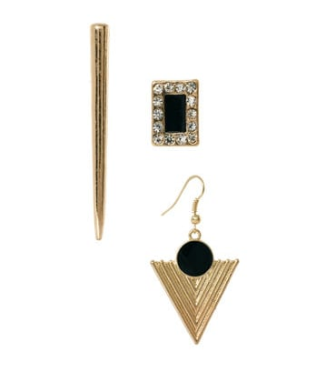 It would be so fun to play around with these ASOS mismatched multipack earrings ($9). We especially love the mix of triangle, arrowhead, and bedazzled square.