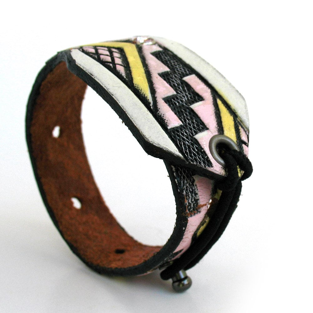 Aside from the Native American tribal print design (which we're obsessed with), we love that this bracelet was made completely from discarded and reclaimed full grain leather.  Leather Cuff Bracelet With Tribal Tooling ($18)