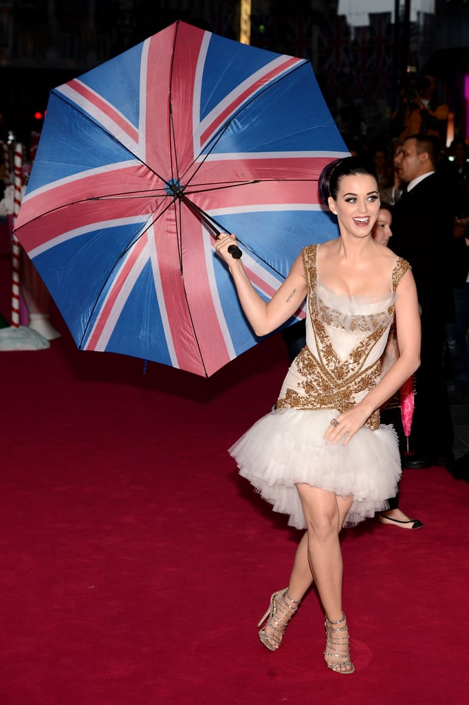 Katy Perry got into the British spirit at the London premiere of Katy Perry: Part of Me on July 3.