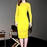 Lily showed off her curves in a bright yellow Versace sheath for an appearance in SoHo.