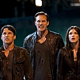 Stephen Moyer as Bill, Alexander Skarsgard as Eric, and Lucy Griffiths as Nora on True Blood. Photo courtesy of HBO