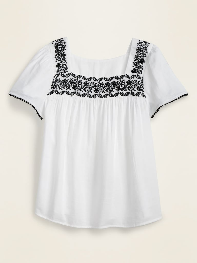 Embroidered-Yoke Square-Neck Top