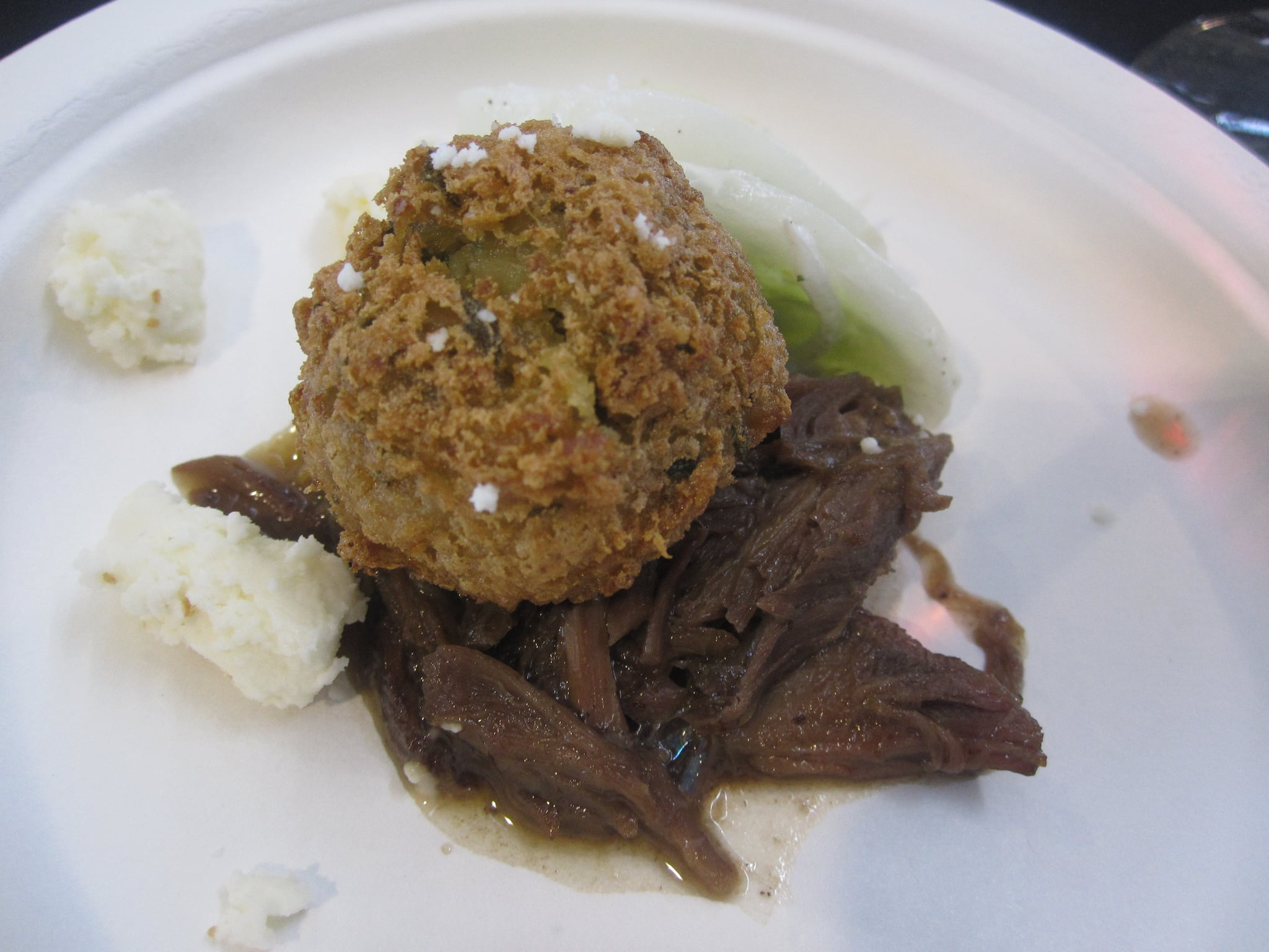 Braised lamb shank with falafel, feta, and minted yogurt was my favorite preparation of the shanks.