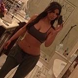 Kim Kardashian snapped a picture in her workout gear. Source: Instagram user kimkardashian