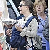 Natalie Portman carried Aleph to the farmers market in LA.