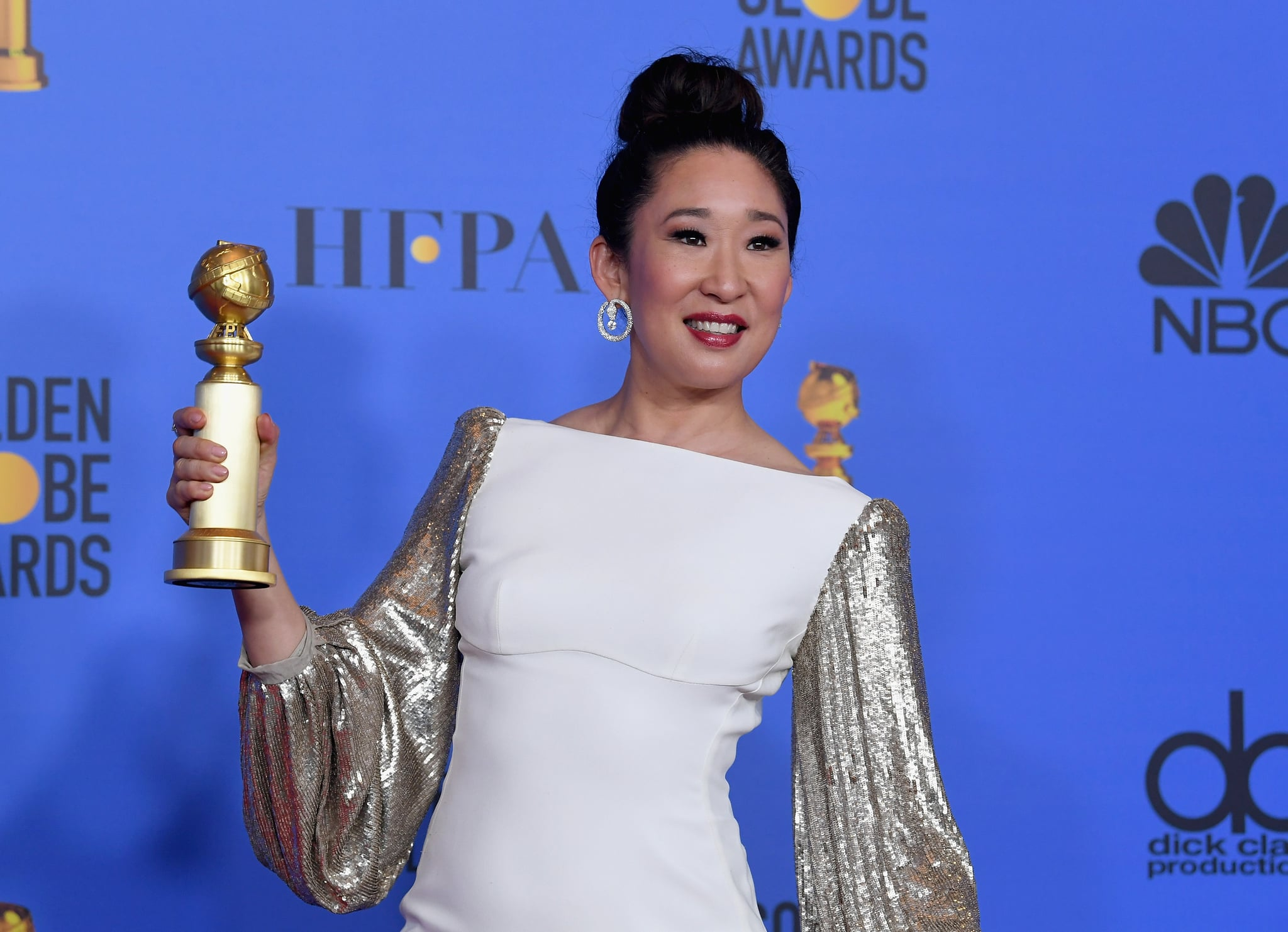 BEVERLY HILLS, CA - JANUARY 06:  Host and Best Performance by an Actress in a Television Series Drama 'for Killing Eve' winner Sandra Oh poses in the press room during the 76th Annual Golden Globe Awards at The Beverly Hilton Hotel on January 6, 2019 in Beverly Hills, California.  (Photo by Kevin Winter/Getty Images)