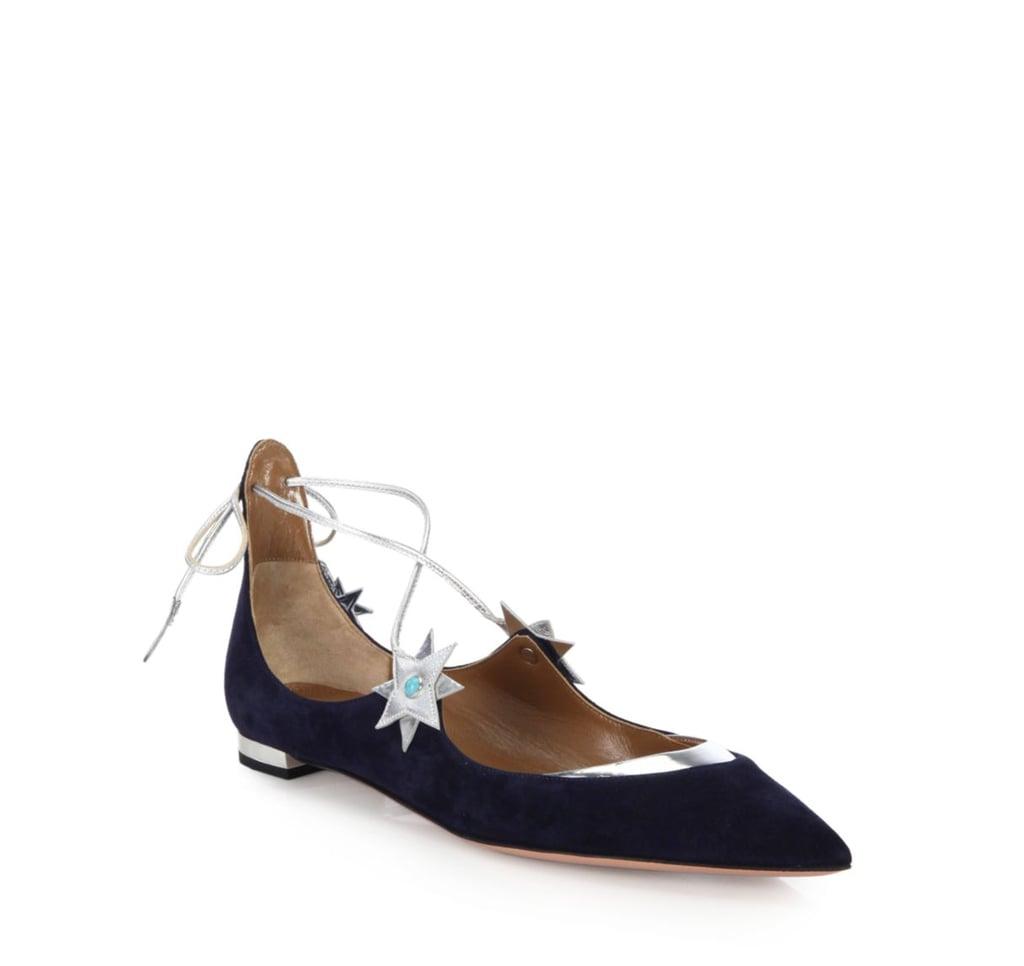 Aquazurra x Poppy Delevingne Midnight Lace-Up Flats ($750)