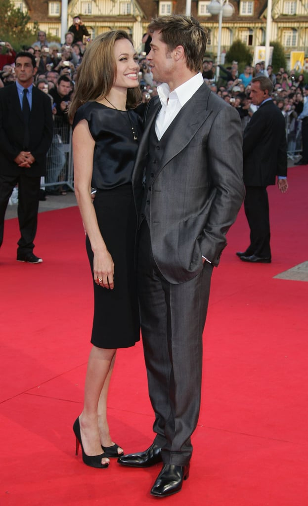 Brad Pitt and Angelina Jolie stuck close at the 33rd Deauville Film Festival premiere of The Assassination Of Jesse James in September 2007.