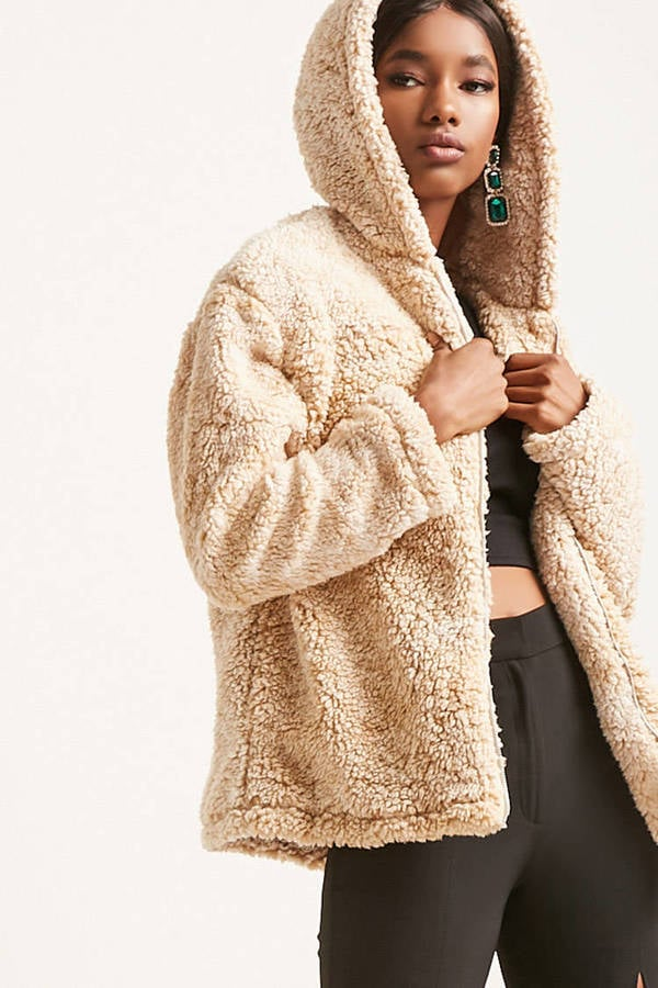 c118a0ea725f Forever 21 Hooded Faux Shearling Jacket   Best Coats From Forever 21 ...