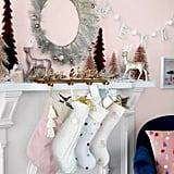 Short Pile Faux-Fur Christmas Stocking With Tassels