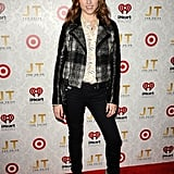 Anna Kendrick went tomboy-cool in a plaid moto jacket, lace-up booties, Citizens of Humanity denim, and a printed button-down.