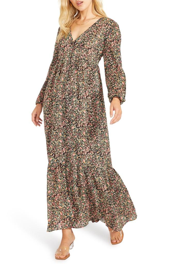 BB Dakota Feature Length Film Floral Long Sleeve Maxi Dress