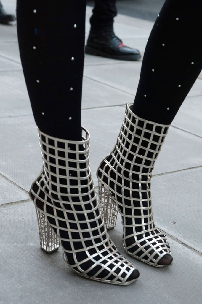 Silver Yves Saint Laurent cage boots are all you need to make a snap-worthy statement.