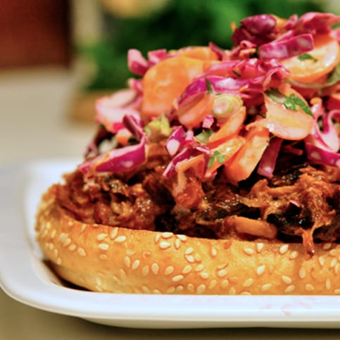 Pulled Pork Sandwich with Purple Cabbage Slaw